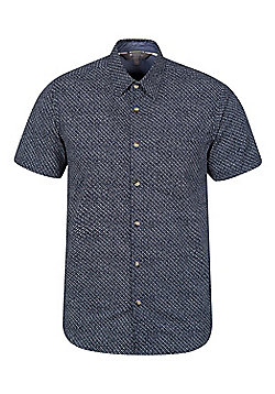 Mountain Warehouse Cactus Mens Printed Short Sleeved Shirt - Blue