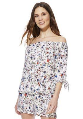 JDY Floral Print Bardot Top White Multi M