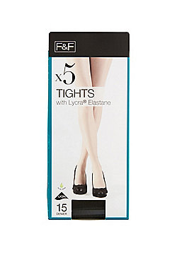 F&F 5 Pack of 15 Denier Tights with Lycra® - Barely black