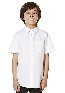 F&F School 5 Pack of Boys Easy Iron Short Sleeve School Shirts - White
