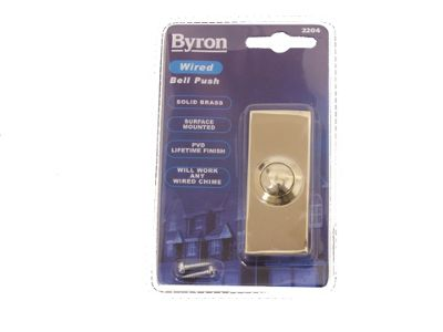 Byron 2204 Wired Bell Push Brass 74X32mm