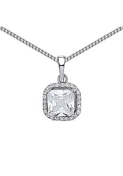 Rhodium Plated Sterling Silver Princess Cut Cubic Zirconia Halo Pendant Necklace 18 inch