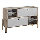 Modern Designer Storage Large Sideboard - Oak & White