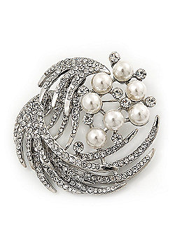 Rhodium Plated Simulated Pearl/ Swarovski Crystal 'Wings' Corsage Brooch - 5.5cm Diameter