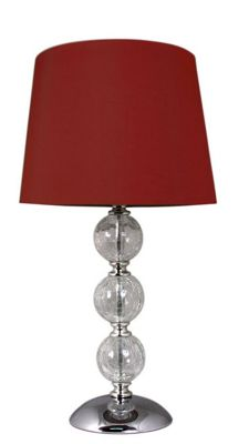 Clear Cracked Glass 3 ball Table Lamp with 8 inch Red Shade