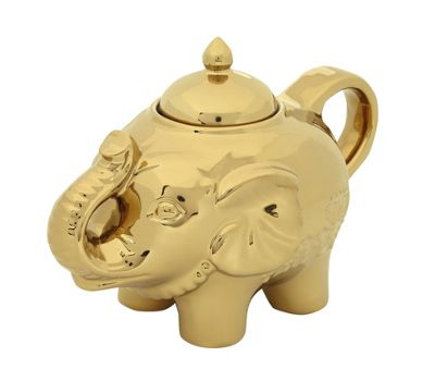 Bia Elephant Shape Blingaphant Porcelain Sugar Pot with Lid, Gold