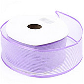 Ribbon Organza Stripe Sheer Ribbon - Lilac -25m