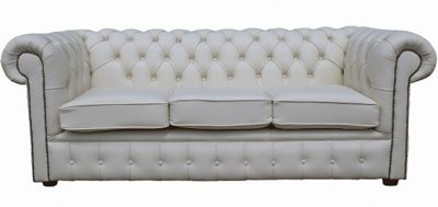 Chesterfield 3 Seater White Leather Sofa