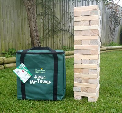 Garden Games Jumbo Hi-Tower in a Bag - Builds From 0.6m - 1.5m (max.) in play. Solid Pine Wood Tumble Tower Game