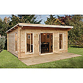 5m x 4m Large Contemporary Log Cabin - 44mm Wall Thickness - INSTALLED
