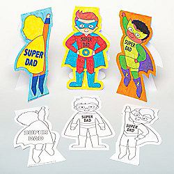 Super Dad' Colour-in Cards for Children to Design Make and Give as Father's Day Gift - Creative Craft Set for Kids (Pack of 8)