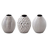 'Celly' Silver Stoneware Contemporary Trio of Bud Vases for the Home