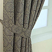 Homescapes Grey Jacquard Tie Back Pair Floral Damask Design