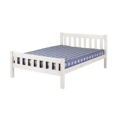 Comfy Living 4ft6 Double Farmhouse Style Wooden Bed Frame with Standard Mattress in White