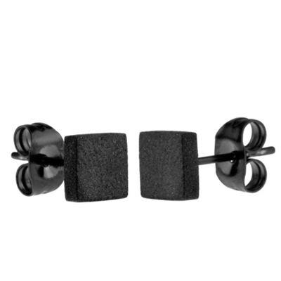 Urban Male Matte Black Stainless Steel 6mm Square Stud Earrings for Men