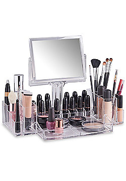 Beautify Clear Acrylic Cosmetic Makeup Organiser With Mirror
