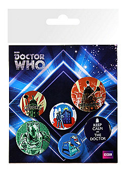 Doctor Who Retro Badge Pack - Multi