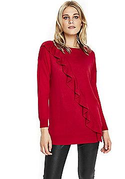 Wallis Diagonal Ruffle Tunic Jumper - Red