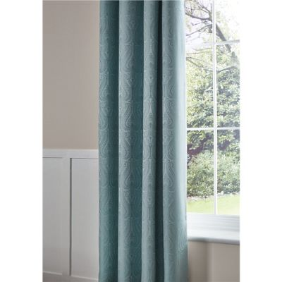 Catherine Lansfield Ornate Jacquard Duck Egg Curtains - 66x72 Inch (168x183cm)