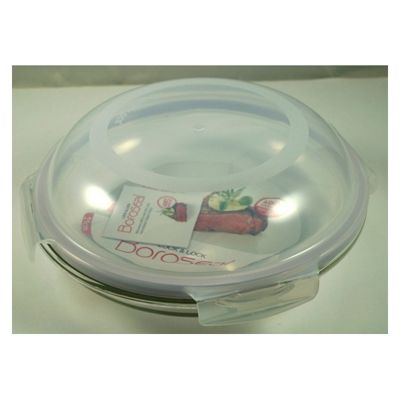 Lock & Lock Boroseal Heat-Resistant Container with 4 side locking polypropylene lid - 9 cm H x 21 cm W x 21 cm D