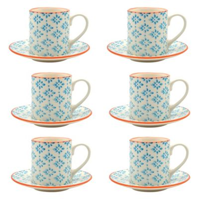 Patterned Espresso Cup and Saucer Set 65ml - Blue / Orange Print - Box of 6
