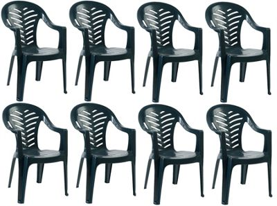 Resol Palma Garden Chair - Green - Patio Outdoor Plastic Furniture (Pack of 8)