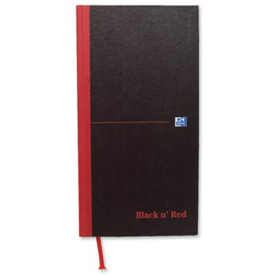 Black n Red Casebound Manuscript Book 192 Pages 297x140mm Ruled Feint 100080528 (5 Pack)