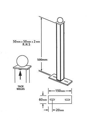 Metal Post 5x5cm Sq x 50cm High for Railing Fence, Ball Top, Bolt Down
