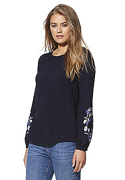 F&F Embroidery Print Sleeve Blouse - Navy