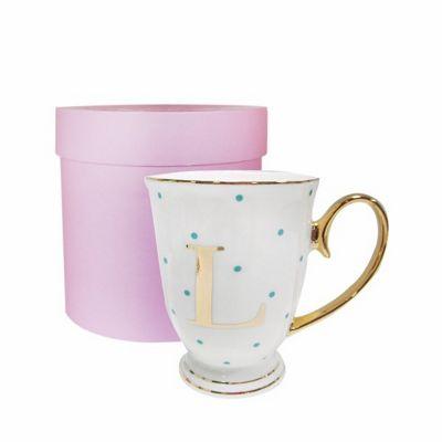 Bombay Duck Alphabet A to Z Spotty Mug Cup Gold Letter with Presentation Hat Box | Aqua Spots| Letter L