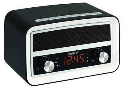 Denver CRB-619 Black Retro Radio Alarm Clock with Bluetooth