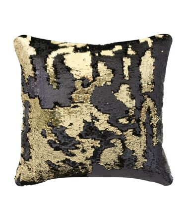 Black & Gold Two Tone Sequin Cushion