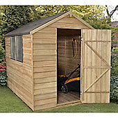 8 x 6 Rock Pressure Treated Overlap Apex Wooden Garden Shed - Single Door - Assembled - 8ft x 6ft (2.44m x 1.83m)