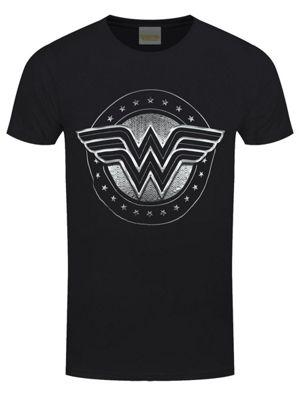 Wonder Woman Chrome Logo Men's T-shirt, Black