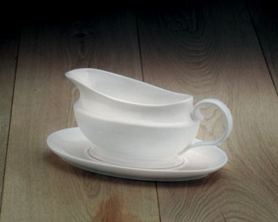 WM Bartleet and Sons Ceramic White Gravy Boat with Saucer T261