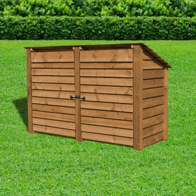 Hambleton wooden reverse roof log store with doors - 4ft