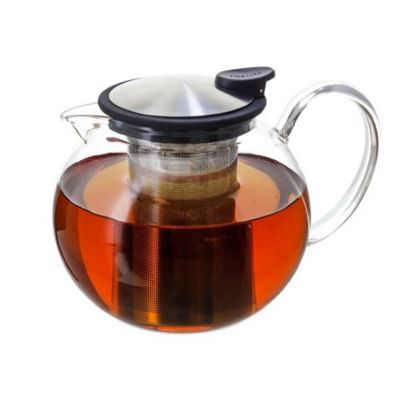 Forlife Bola Glass Teapot with Basket Infuser 1.1L, Black