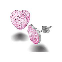 Jewelco London Sterling Silver Pink Crystal Love shape studs Heart Earrings