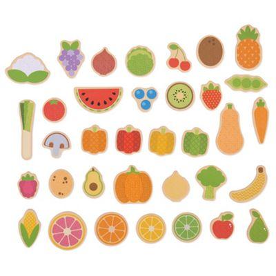 Bigjigs Toys Wooden Fruit & Veg Magnets - 35 Pieces