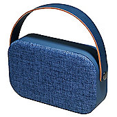 Denver BTS-63 Blue Portable Wireless Bluetooth 4.1 Speaker In Blue Fabric, With Carry Handle, Rechargeable Battery, USB & Aux-In
