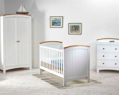 East Coast Coast 3 Piece Nursery Room Set With Sprung Mattress - Sailcloth/Ivory