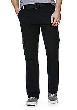 F&F Ripstop Loose Fit Cargo Trousers with Belt - Black