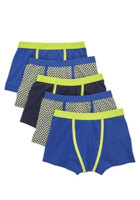 F&F 5 Pack of Geometric Print and Plain Trunks with As New Technology Blue/Lime 5-6 years