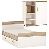 4KIDS Single bed (Lemon handles) with under drawer and low sliding door cabinet