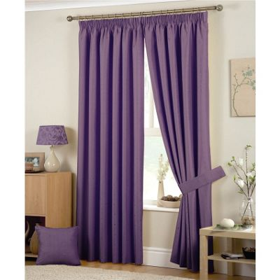 Curtina Hudson Heather Pencil Pleat Lined Curtains - 66x54 inches (168x137cm)