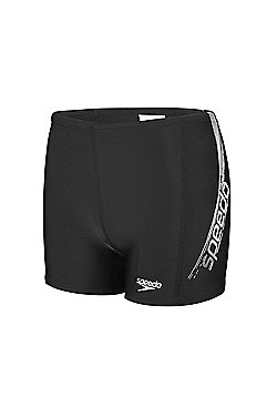 Speedo Endurance10 Logo Panel Mens Swimming Aquashort Brief Black/White - Black