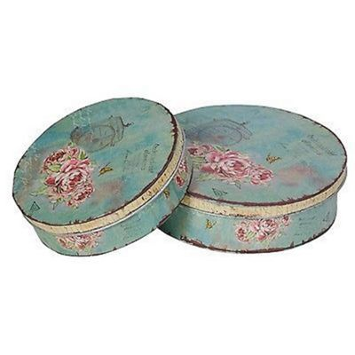 Pretty Roses Pair of Storage Tins