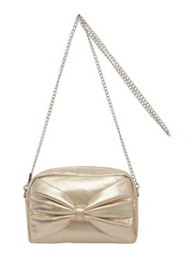 F&F Metallic Bow Front Camera Bag Gold One Size