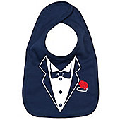 Dirty Fingers A Tuxedo with Carnation in pocket Baby Bib Navy