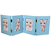 Folding Free Standing 4 Photo Frame - Blue